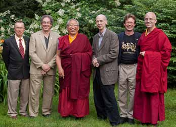 Thrangu Rinpoche & Karma Choephel with Translation Committee, August 2011. Photo by Marvin Moore.