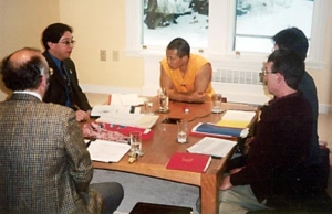 Sakyong Mipham Rinpoche meets with Translation Committee inaugurating the use of his study at Kalapa Court, Halifax