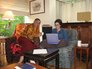 Karma Senge Rinpoche with Jessie on computer.