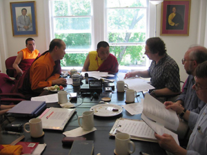 Karma Senge Rinpoche (center) and Lama Ngodup Dorji meet with the Translation Committee