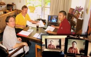 Surmang Khenpo working via skype with the Nalanda Translation Committee.