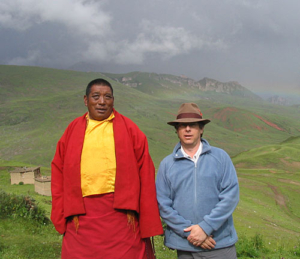 Damcho Tenphel Rinpoche and Larry in Kyere, Tibet.