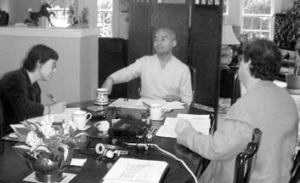 Yongey Mingyur Rinpoche meets with the Translation Committee.