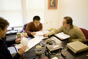 Surmang Khenpo with Mark and Larry at work. Photo by Marvin Moore