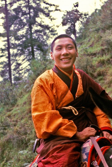 Chögyam Trungpa Rinpoche on his way up to retreat at Taktsang in 1968. Photo by Dan Russell